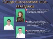 Елена Метлушка- Окончила школу с серебрянной медалью, призер конкурса « Ветер...