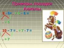 Примеры лошадки Анжелы 8 - 6= . + 6 – 6 = . + 6 10 – 7 = . + 7 - 7 = . + 7