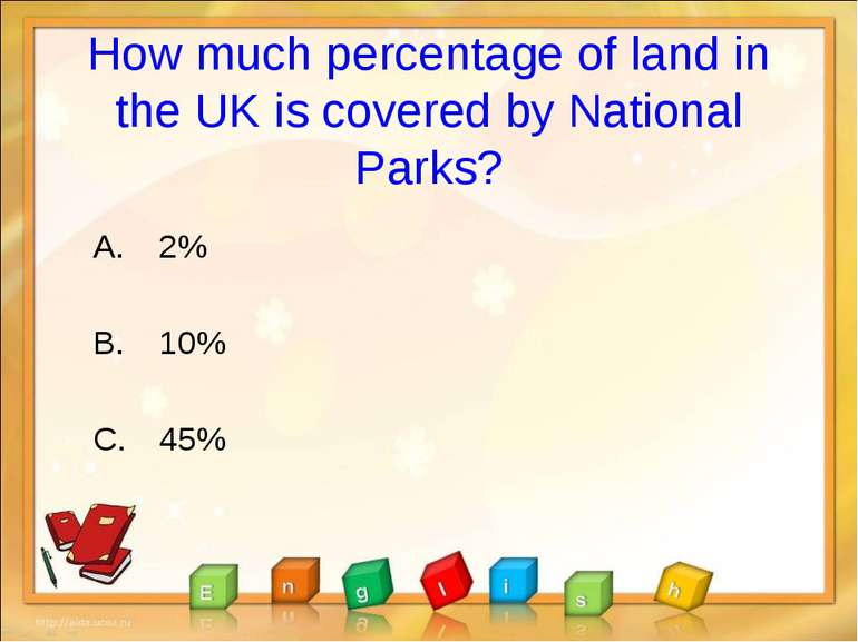 How much percentage of land in the UK is covered by National Parks? 2% 10% 45%