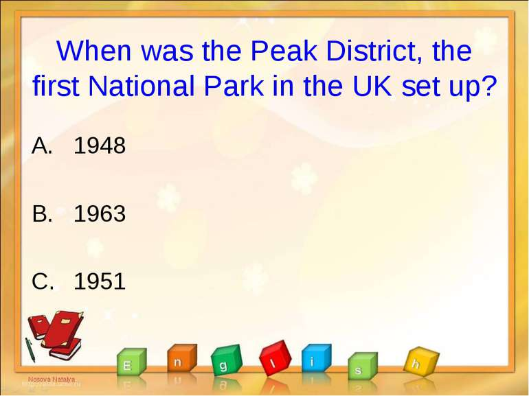 When was the Peak District, the first National Park in the UK set up? 1948 19...