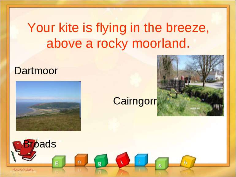 Your kite is flying in the breeze, above a rocky moorland. Dartmoor Cairngorm...