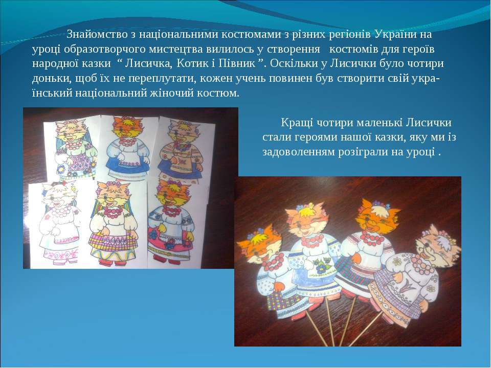 Знайомство з національними костюмами з різних регіонів України на уроці образ...
