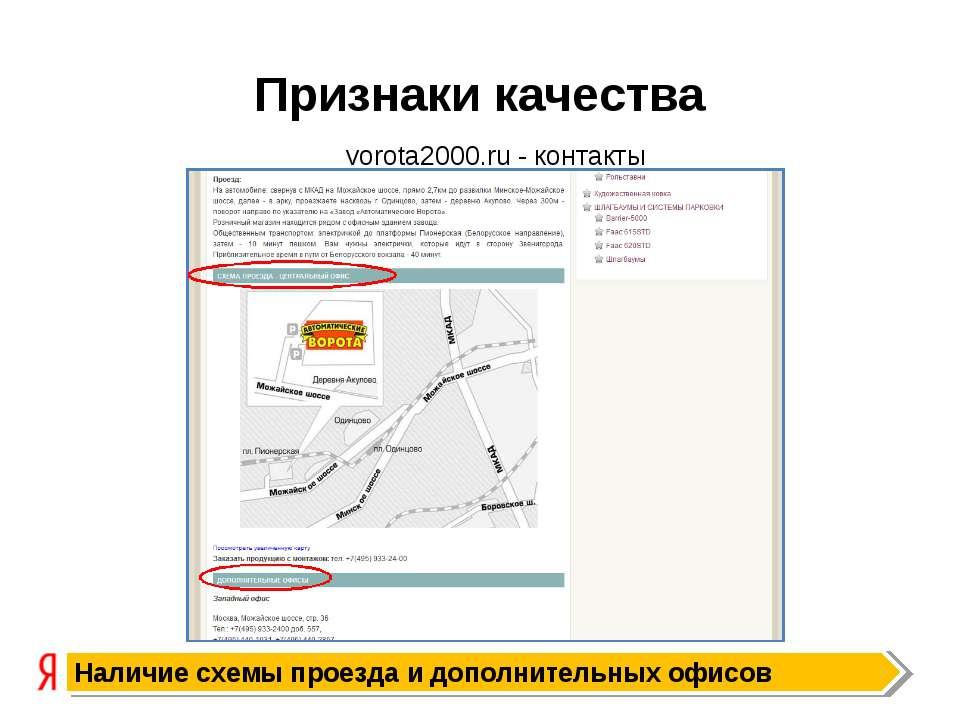 Признаки качества Наличие схемы проезда и дополнительных офисов vorota2000.ru...