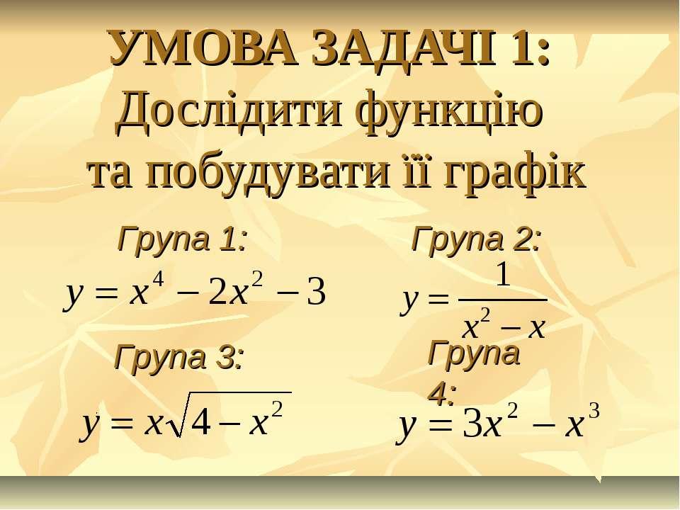 УМОВА ЗАДАЧІ 1: Дослідити функцію та побудувати її графік Група 1: Група 2: Г...