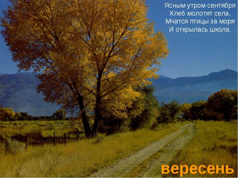 вересень Ясным утром сентября Хлеб молотят села, Мчатся птицы за моря И откры...