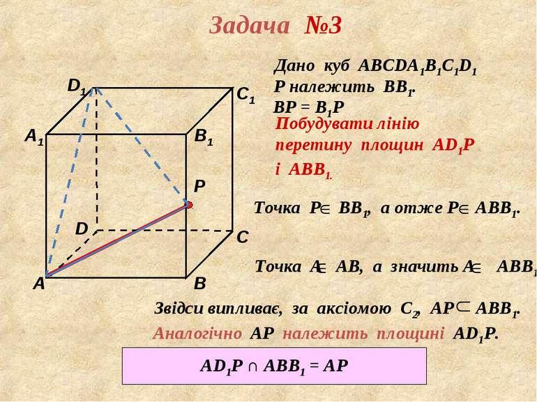 D1 В А D С1 С В1 Р А1 Задача №3 Дано куб АВСDА1В1С1D1 Р належить ВВ1. ВР = В1...