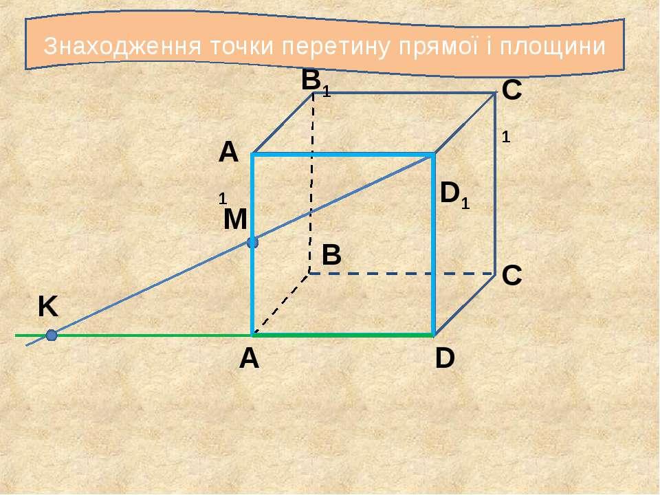 С С1 B1 A1 B A D D1 M K Знаходження точки перетину прямої і площини