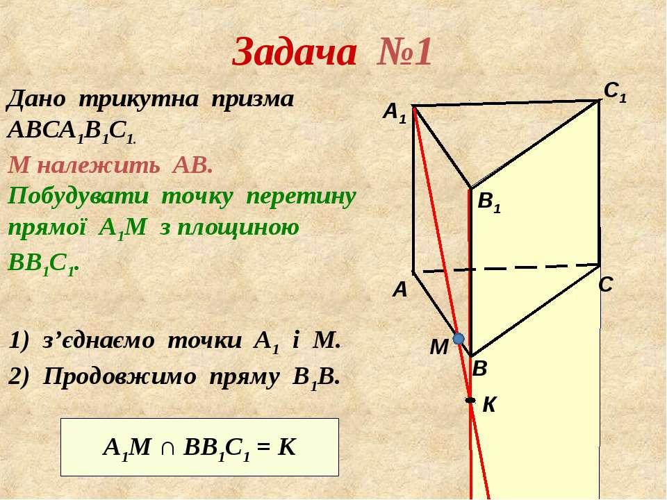 Задача №1 Дано трикутна призма АВСА1В1С1. М належить АВ. Побудувати точку пер...
