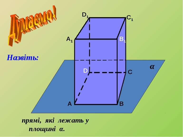 А А1 В В1 С С1 D D1 прямі, які лежать у площині α. α Назвіть: