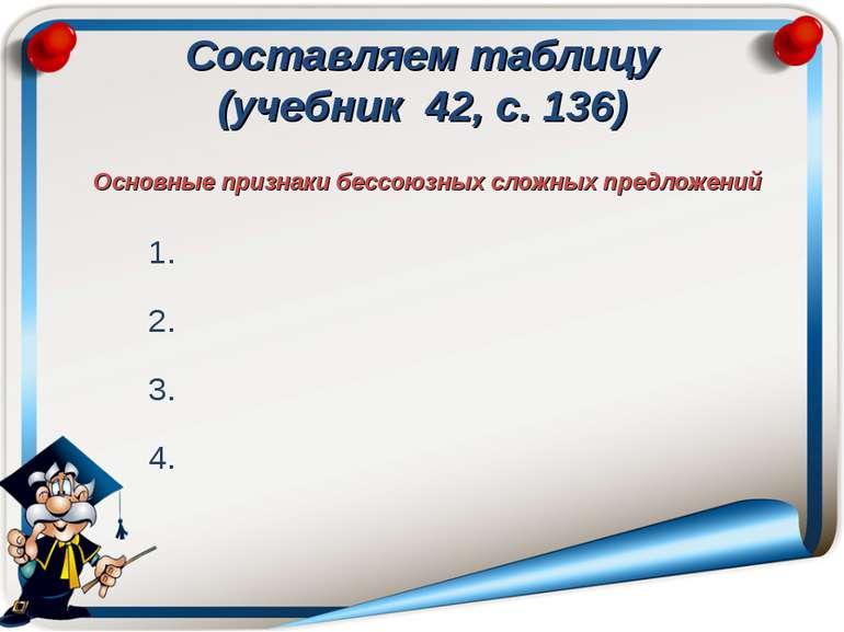 Составляем таблицу (учебник 42, с. 136) Основные признаки бессоюзных сложных ...