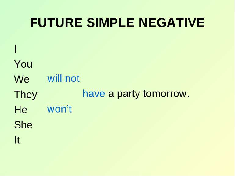 FUTURE SIMPLE NEGATIVE I You We They He She It will not won't have a party to...