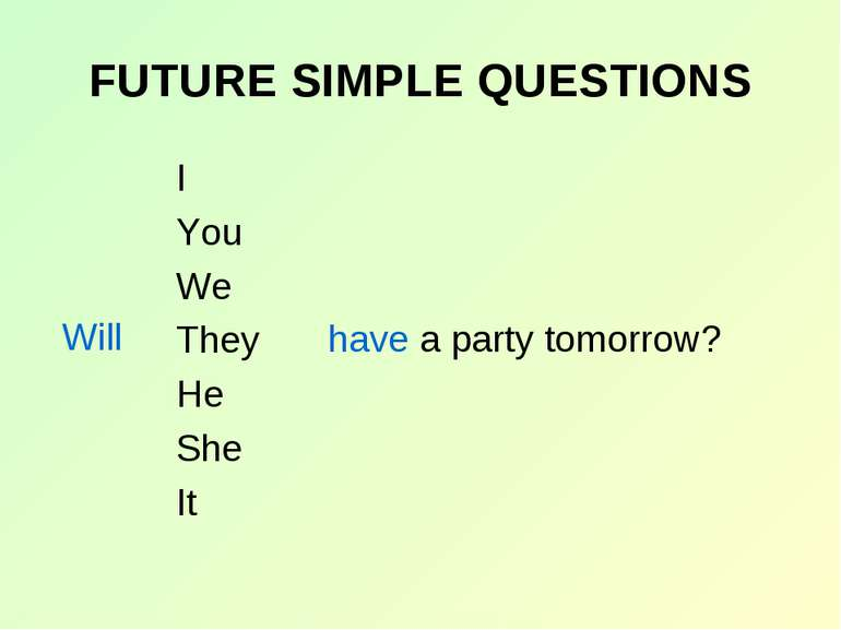 FUTURE SIMPLE QUESTIONS I You We They He She It Will have a party tomorrow?
