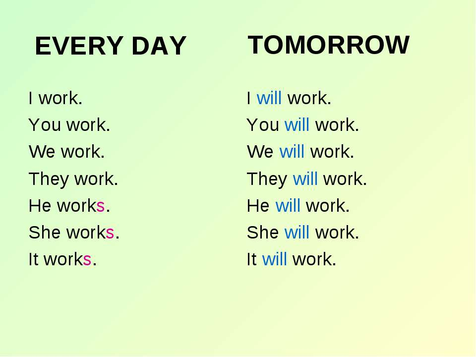 EVERY DAY I work. You work. We work. They work. He works. She works. It works...