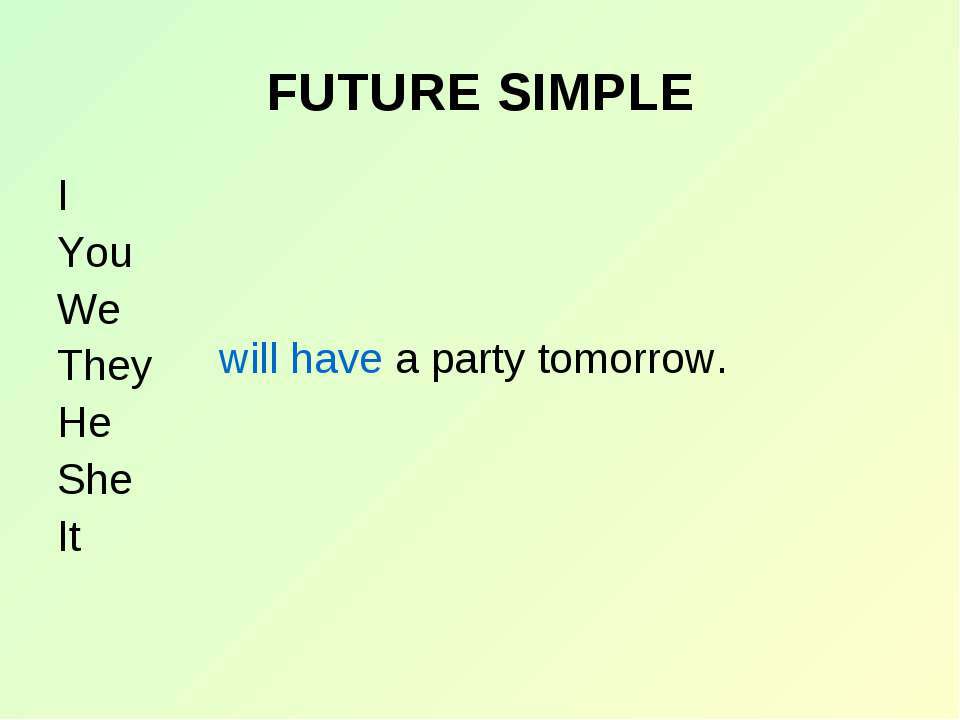 FUTURE SIMPLE I You We They He She It will have a party tomorrow.