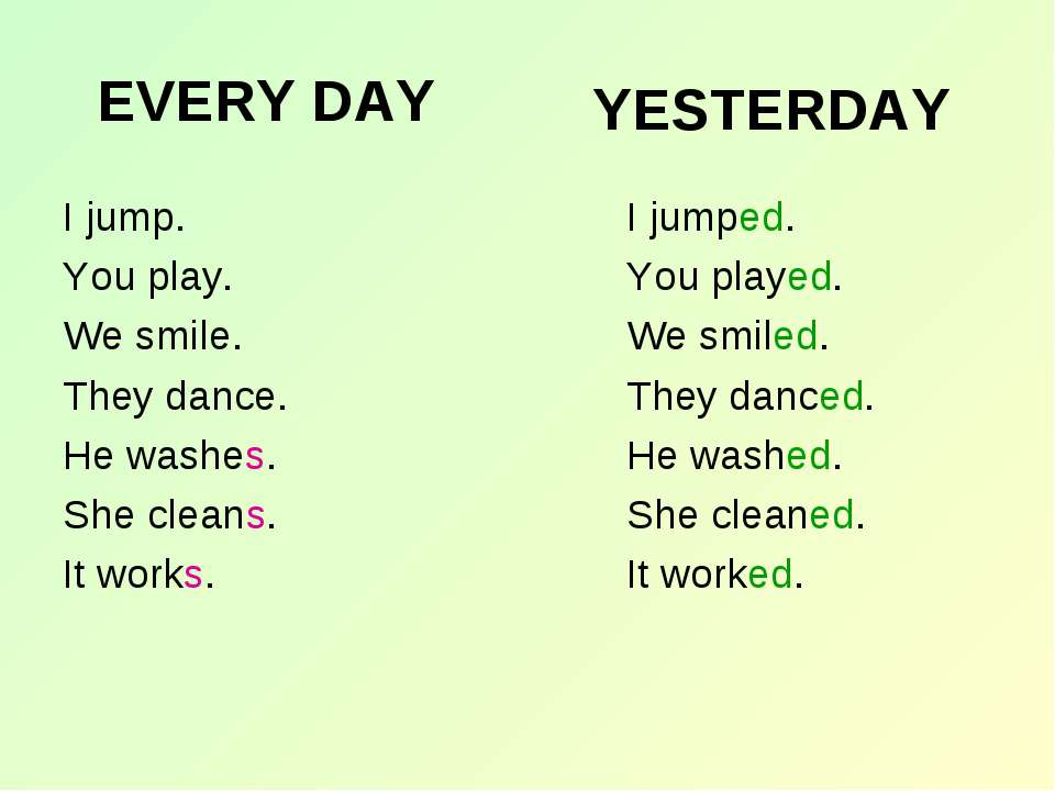 EVERY DAY I jump. You play. We smile. They dance. He washes. She cleans. It w...