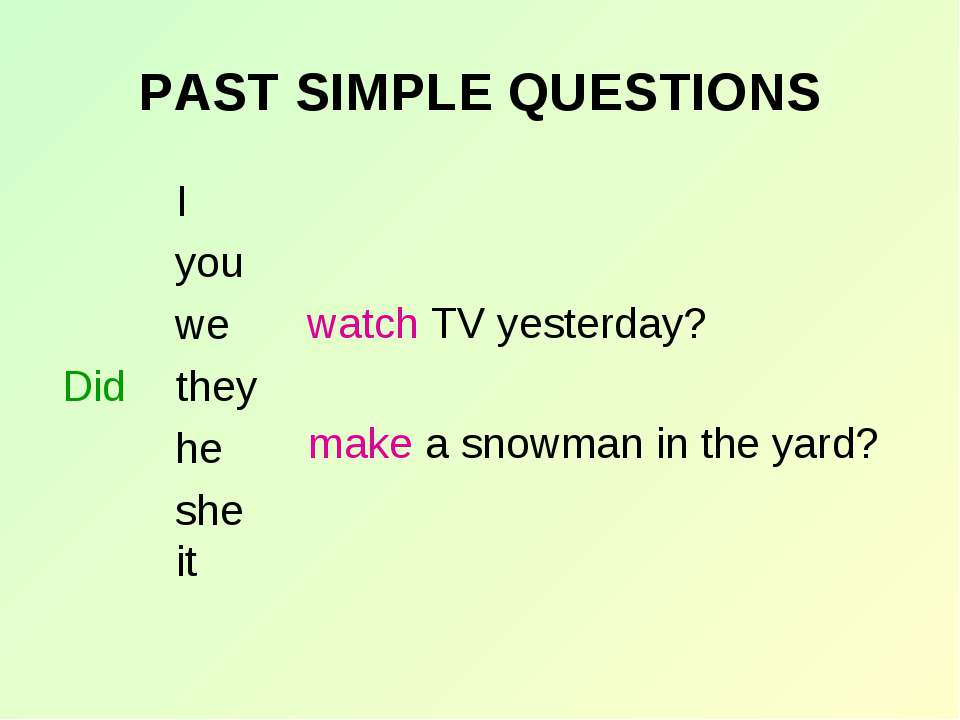 PAST SIMPLE QUESTIONS I you we they he she it Did watch TV yesterday? make a ...