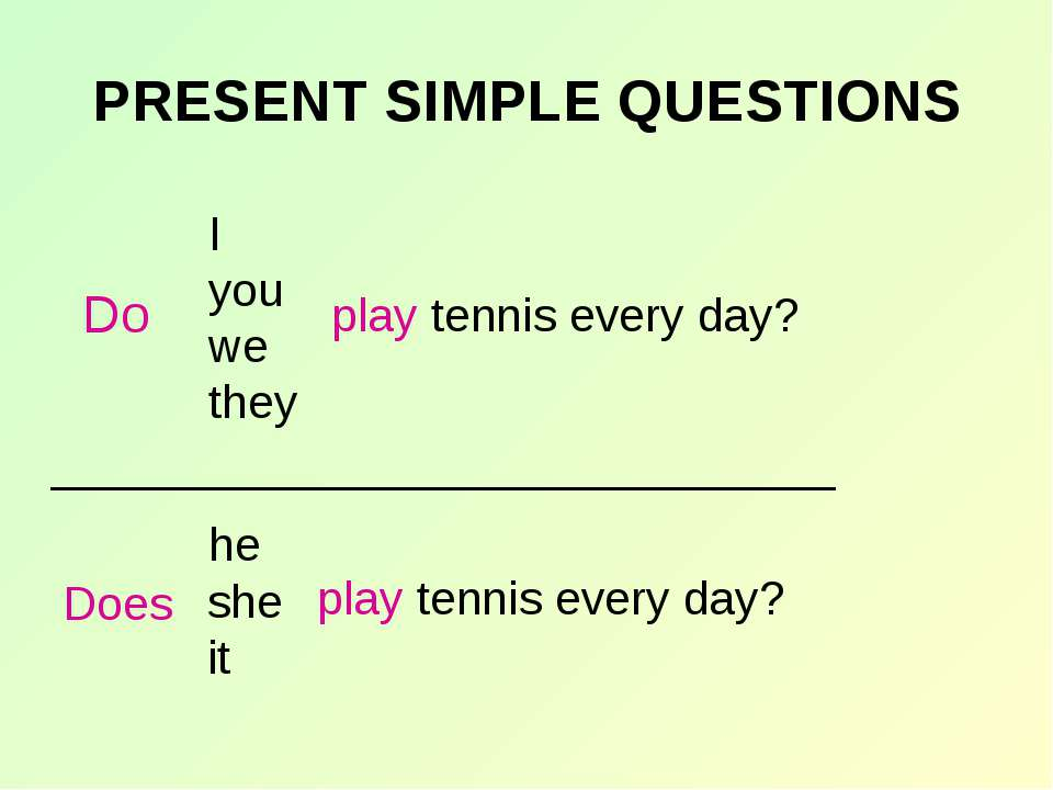 PRESENT SIMPLE QUESTIONS play tennis every day? _____________________________...