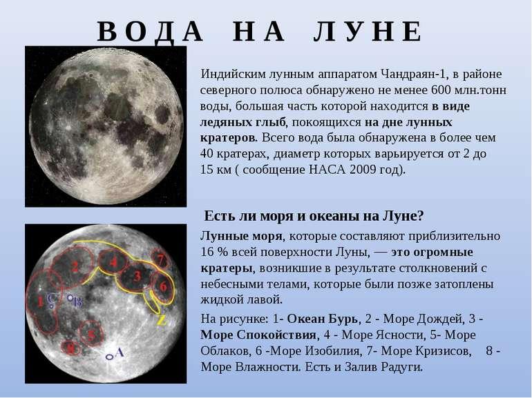 В О Д А Н А Л У Н Е Индийским лунным аппаратом Чандраян-1, в районе северного...