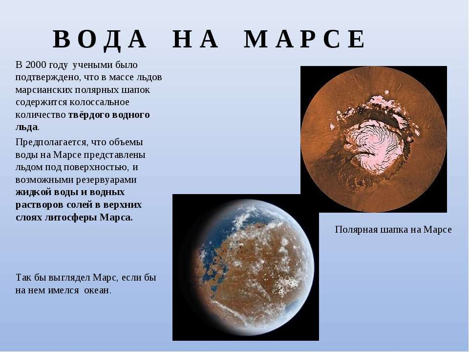 В О Д А Н А М А Р С Е В 2000 году учеными было подтверждено, что в массе льдо...