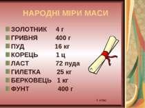 НАРОДНІ МІРИ МАСИ ЗОЛОТНИК 4 г ГРИВНЯ 400 г ПУД 16 кг КОРЕЦЬ 1 ц ЛАСТ 72 пуда...