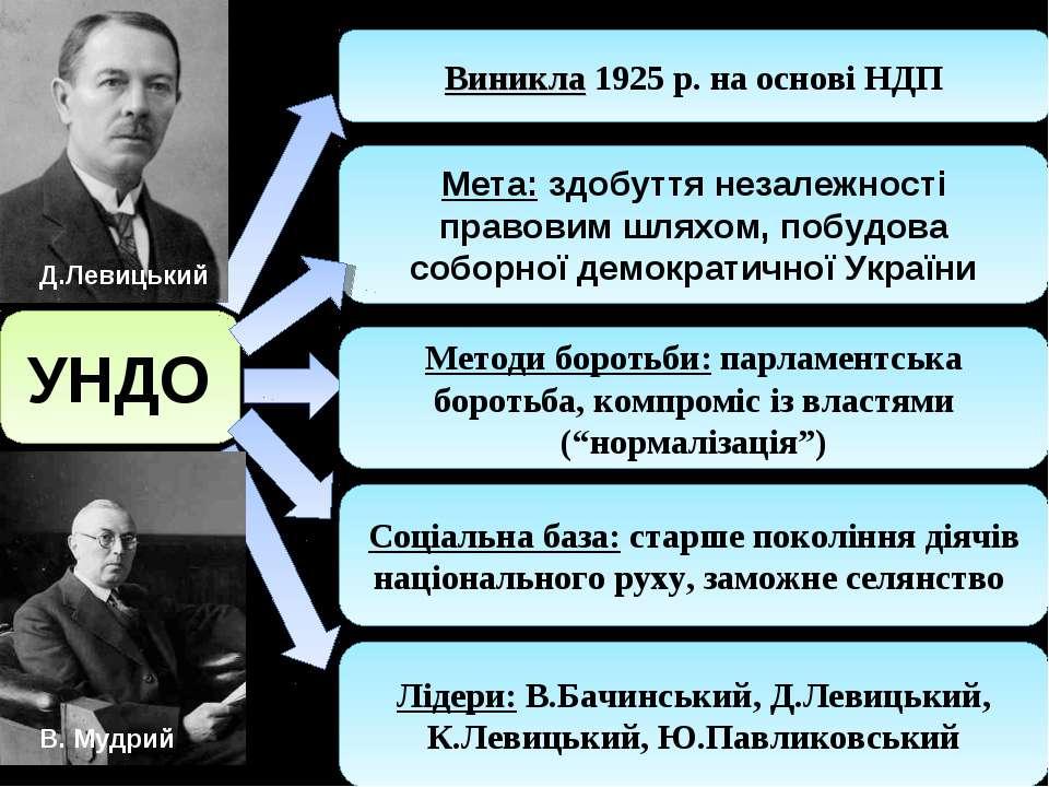 УНДО Виникла 1925 р. на основі НДП Лідери: В.Бачинський, Д.Левицький, К.Левиц...