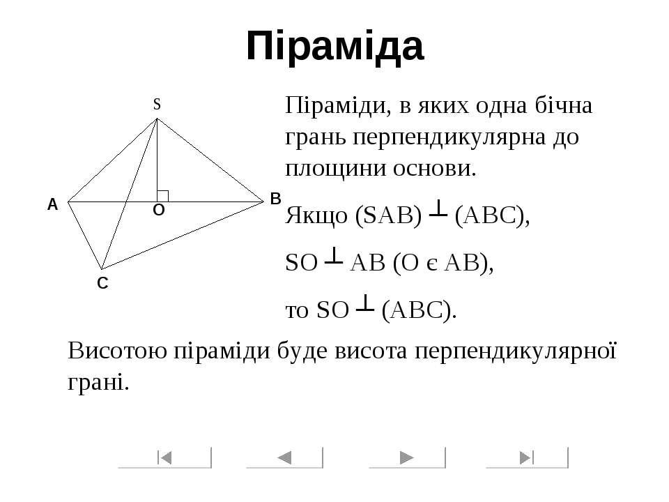 Піраміда Піраміди, в яких одна бічна грань перпендикулярна до площини основи....