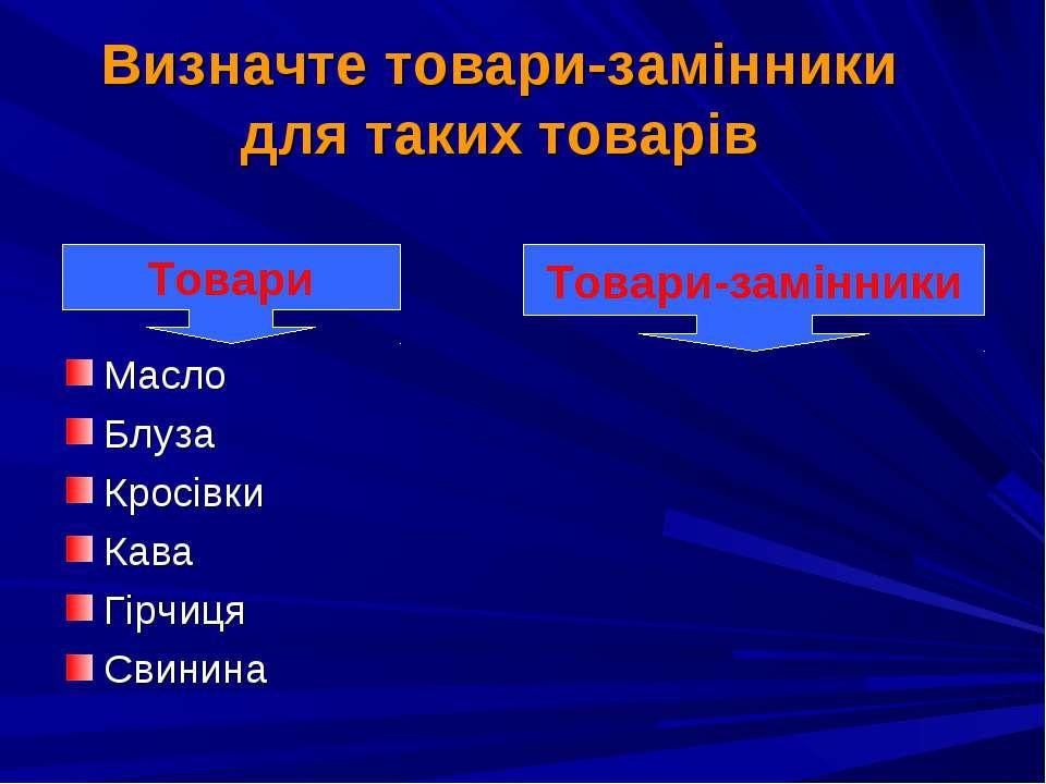 Визначте товари-замінники для таких товарів Масло Блуза Кросівки Кава Гірчиця...