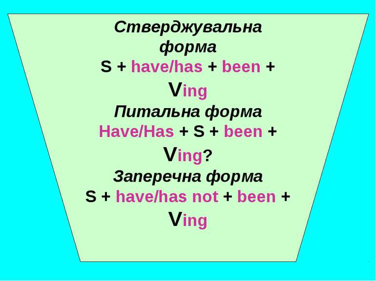Стверджувальна форма S + have/has + been + Ving Питальна форма Have/Has + S +...