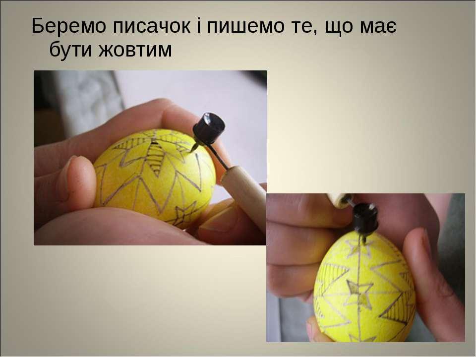 Беремо писачок і пишемо те, що має бути жовтим