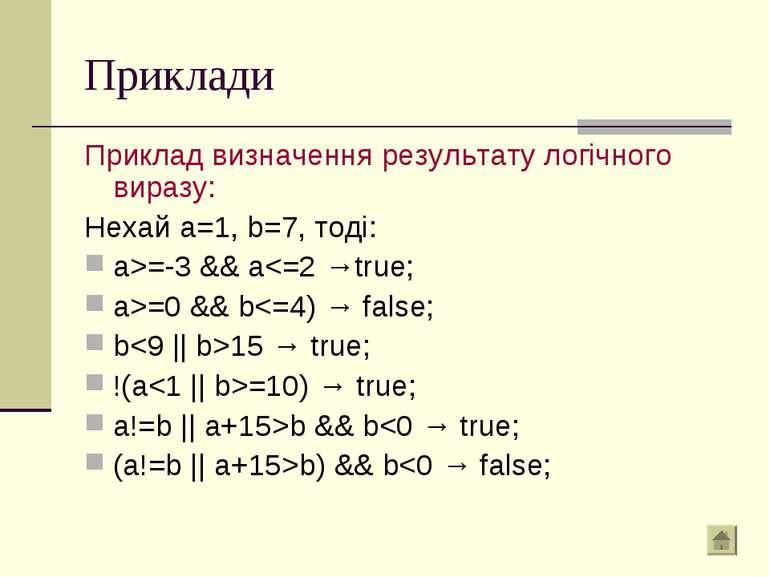 Приклади Приклад визначення результату логічного виразу: Нехай a=1, b=7, тоді...