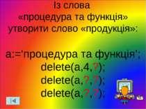 Із слова «процедура та функція» утворити слово «продукція»: a:='процедура та ...