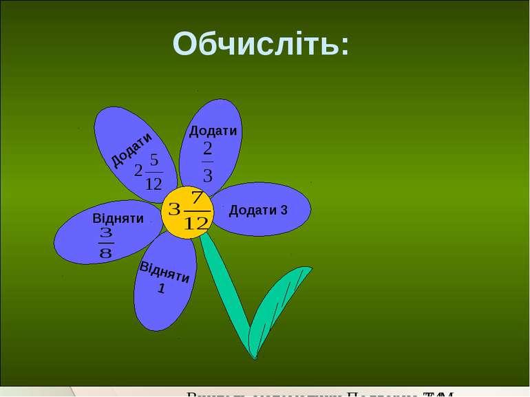 Обчисліть: Додати Відняти 1 Додати Додати 3 Відняти Вчитель математики Подгор...