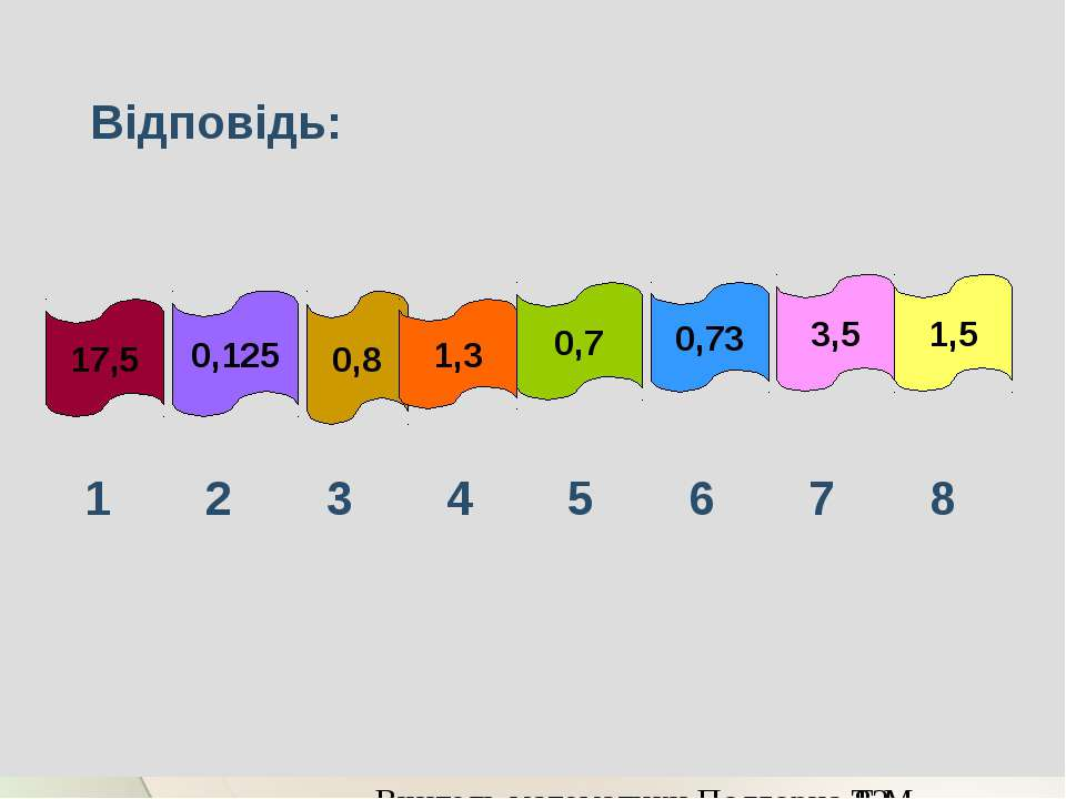 Відповідь: 17,5 0,125 0,8 1,3 0,7 0,73 3,5 1,5 Вчитель математики Подгорна Т.М.