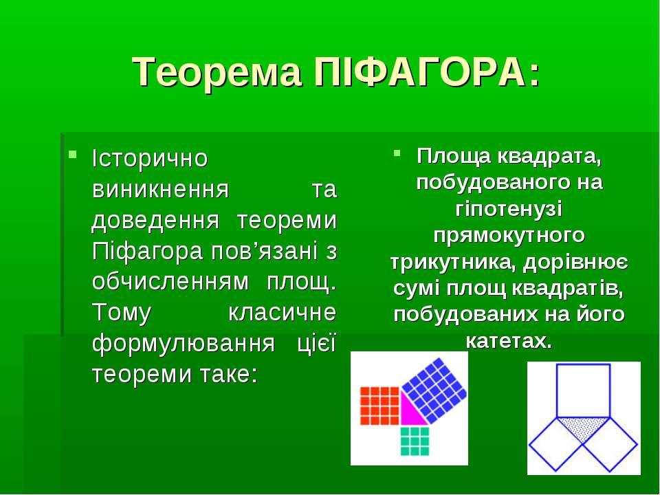 Теорема ПІФАГОРА: Історично виникнення та доведення теореми Піфагора пов'язан...