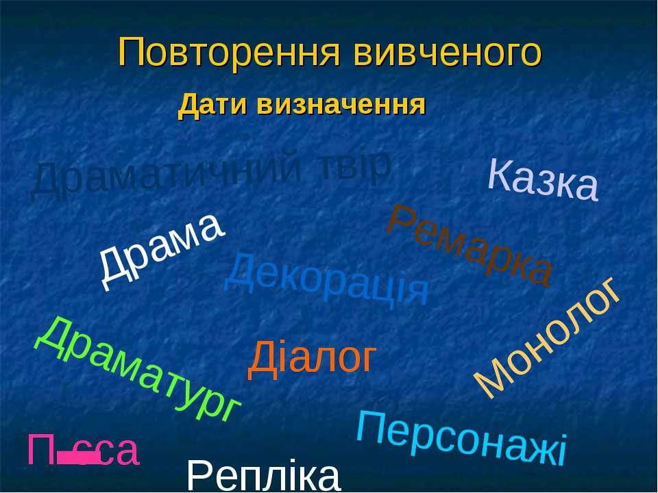 Повторення вивченого Дати визначення Драма Ремарка Діалог Монолог Казка Драма...