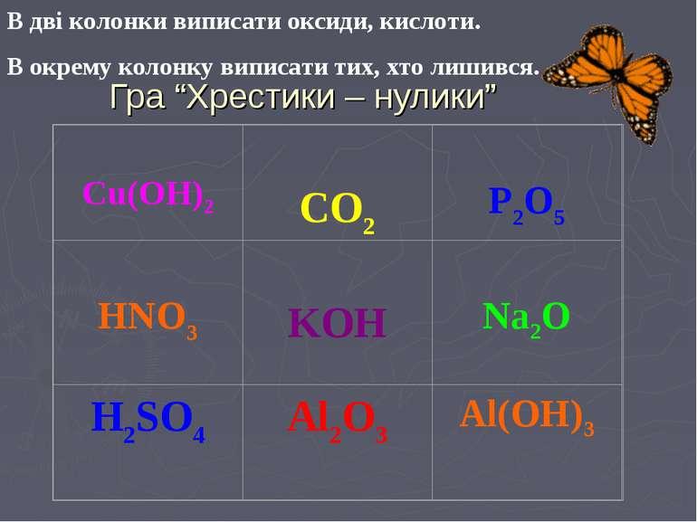 """Гра """"Хрестики – нулики"""" В дві колонки виписати оксиди, кислоти. В окрему коло..."""