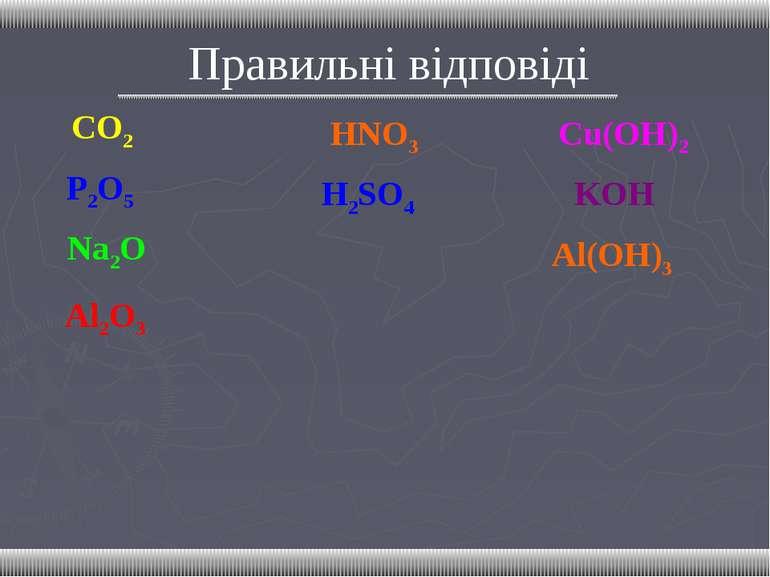 Правильні відповіді CO2 P2O5 Na2O Al2O3 HNO3 H2SO4 Сu(OH)2 KOH Al(OH)3