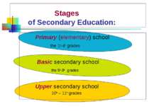 Stages of Secondary Education: Primary (elementary) school the 1st-4th grades...