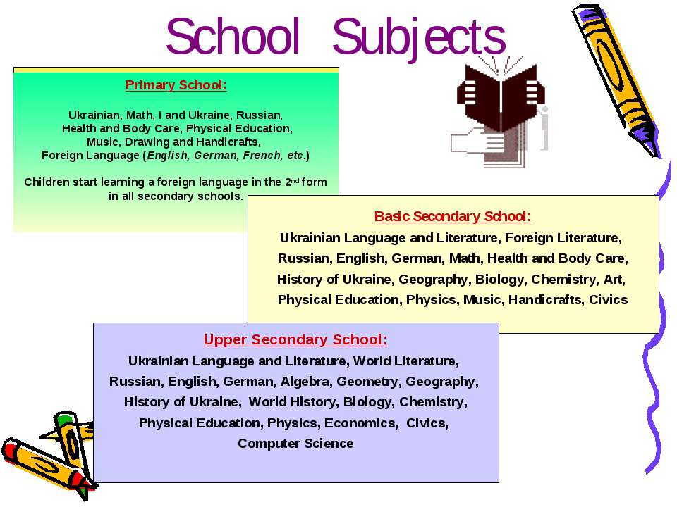 School Subjects Primary School: Ukrainian, Math, I and Ukraine, Russian, Heal...