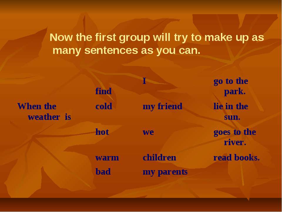 Now the first group will try to make up as many sentences as you can. find I ...