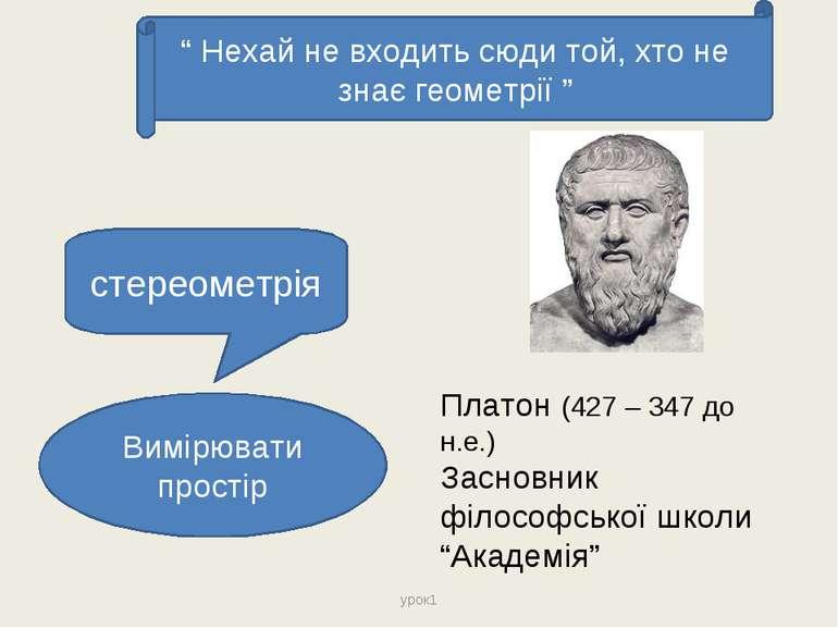 стереометрія Вимірювати простір Платон (427 – 347 до н.е.) Засновник філософс...