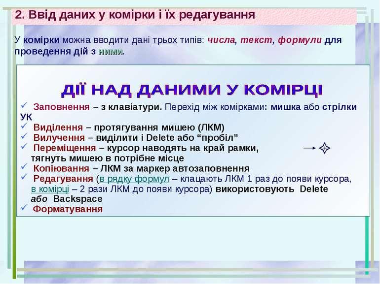 2. Ввід даних у комірки і їх редагування Заповнення – з клавіатури. Перехід м...