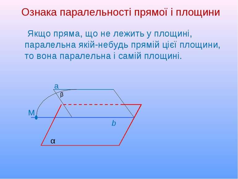 α b β Ознака паралельності прямої і площини Якщо пряма, що не лежить у площин...