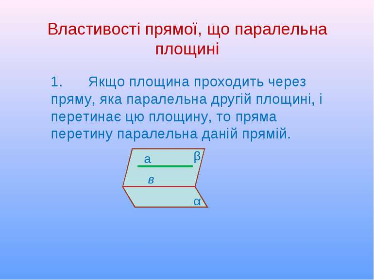 Властивості прямої, що паралельна площині 1. Якщо площина проходить через пря...