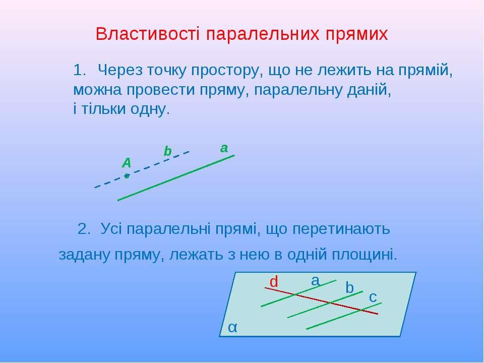 Властивості паралельних прямих 2. Усі паралельні прямі, що перетинають задану...