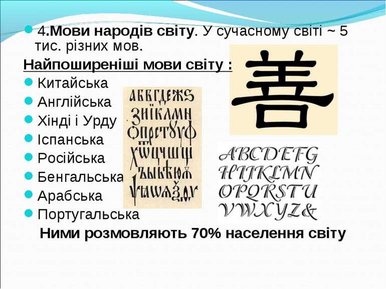 4.Мови народів світу. У сучасному світі ~ 5 тис. різних мов. Найпоширеніші мо...