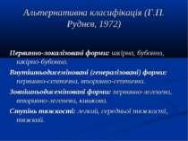 Альтернативна класифікація (Г.П. Руднєв, 1972) Первинно-локалізовані форми: ш...