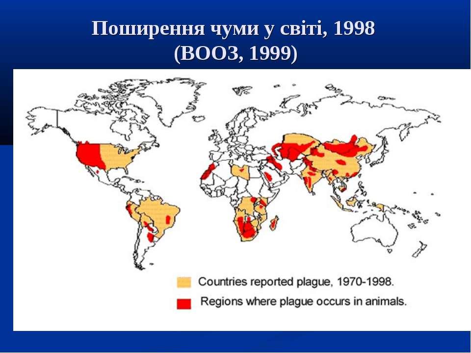 Поширення чуми у світі, 1998 (ВООЗ, 1999)