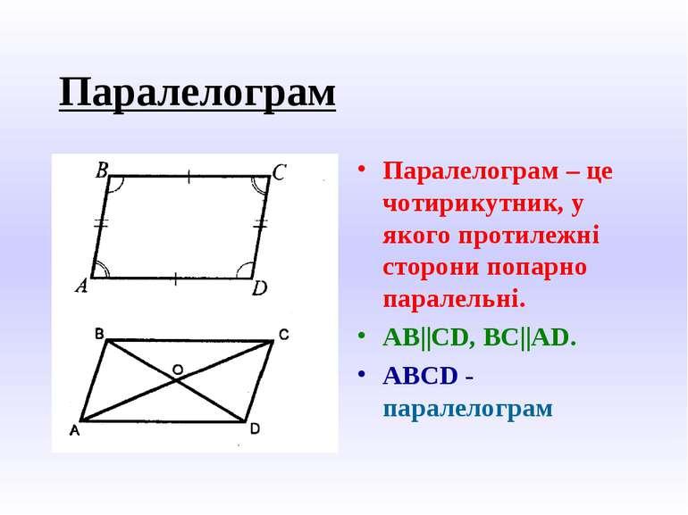 Паралелограм Паралелограм – це чотирикутник, у якого протилежні сторони попар...