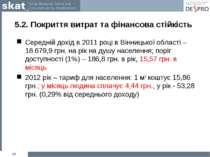 5.2. Покриття витрат та фінансова стійкість Середній дохід в 2011 році в Вінн...